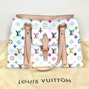 NEW Louis Vuitton Multicolored White Tote MM RARE